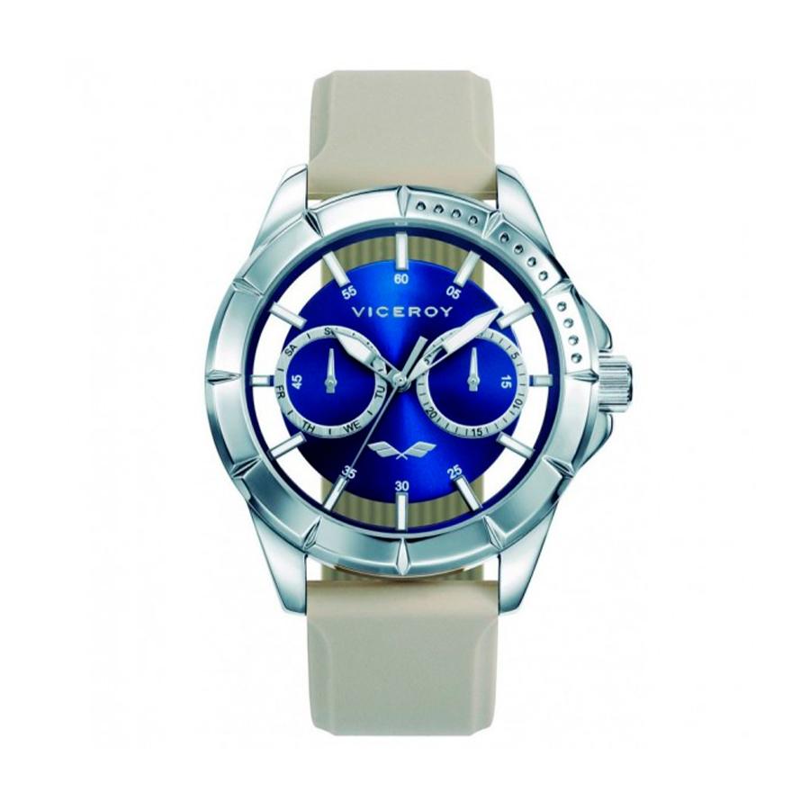 Reloj Viceroy Antonio Banderas Hombre 401049-39 Acero esfera azul semitransparente con correa silicona gris