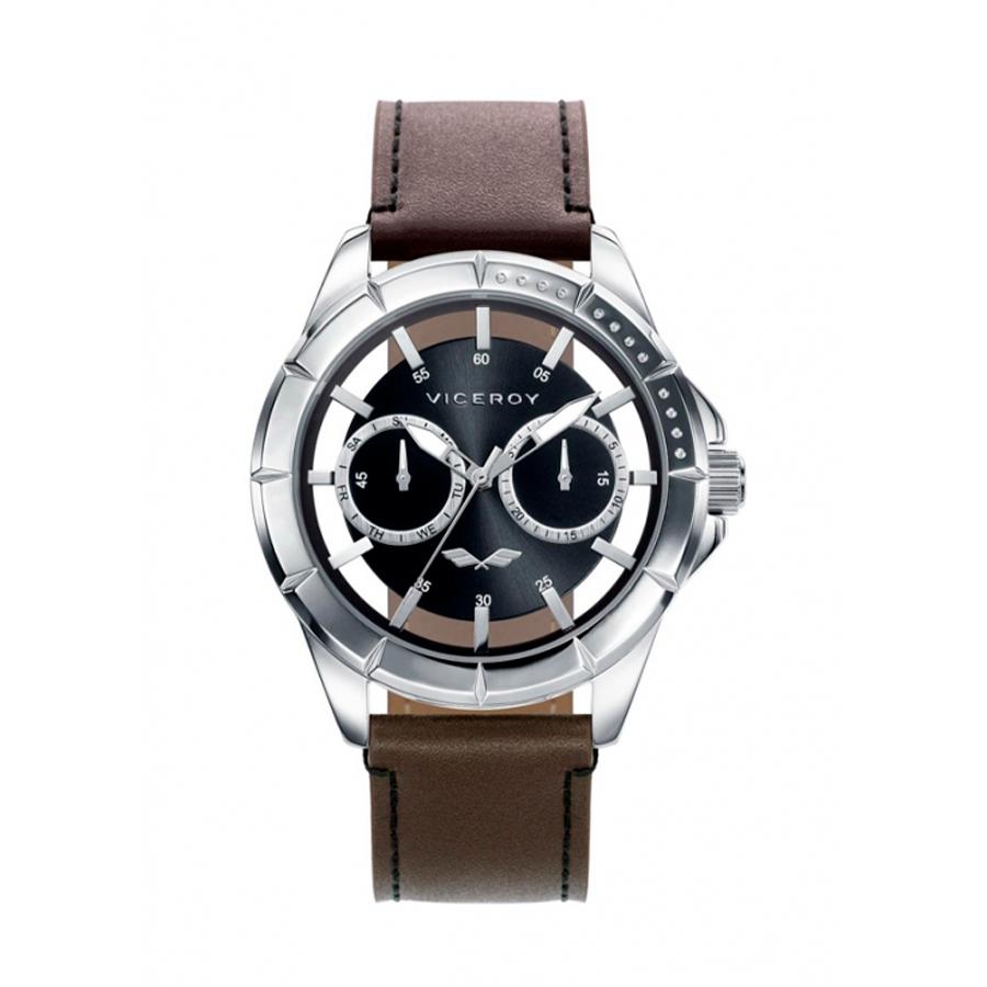 Reloj Viceroy Antonio Banderas Hombre 401049-57 Acero esfera negra semitransparente y correa piel marrón