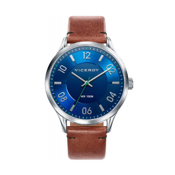 Reloj Viceroy Beat Hombre 401083-35 Acero esfera azul con correa piel marrón