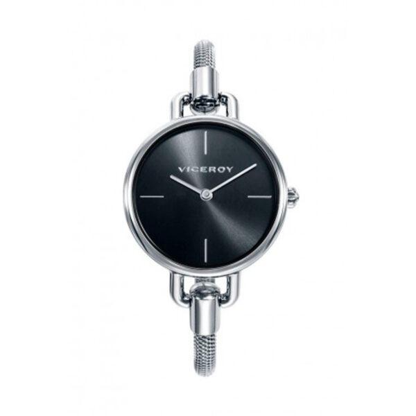 Reloj Viceroy Chic Mujer 42344-57 Acero con esfera negra y brazalete rígido tipo malla esterilla