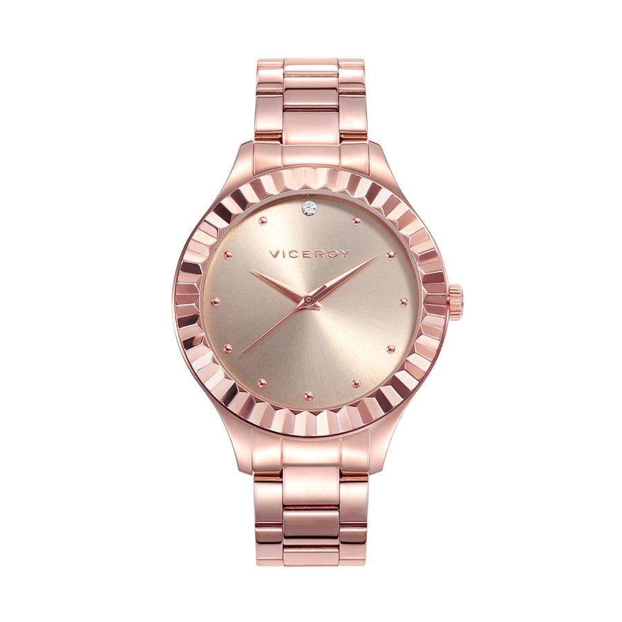 Reloj Viceroy Chic Mujer 42376-97 Acero rosado con bisel rosado dentado