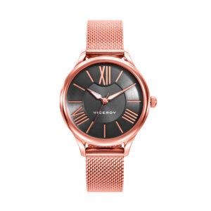 Reloj Viceroy Chic Mujer 461088-99 Acero rosado esfera negra con índices romano y correa malla milanesa rosada