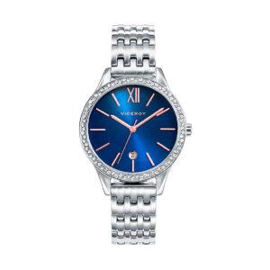 Reloj Viceroy Chic Mujer 471102-33 Acero esfera azul con Calendario y agujas rosadas con bisel ornamentado con circonitas