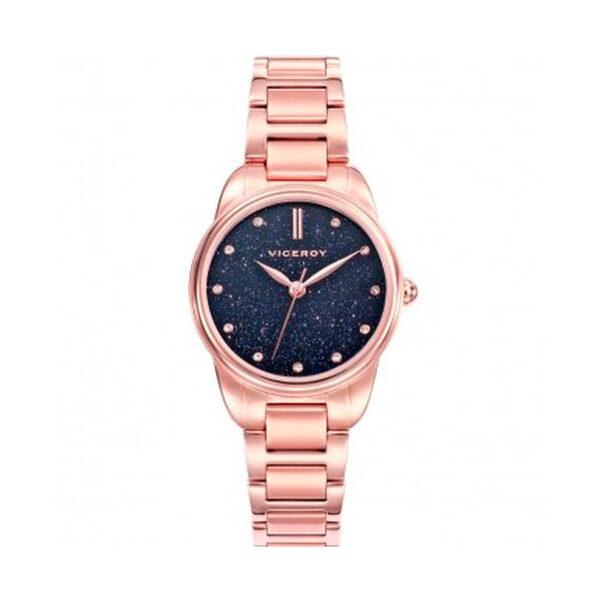 Reloj Viceroy Chic Mujer 471104-37 Acero rosado con esfera azul y cristales decorando los indicadores de las horas