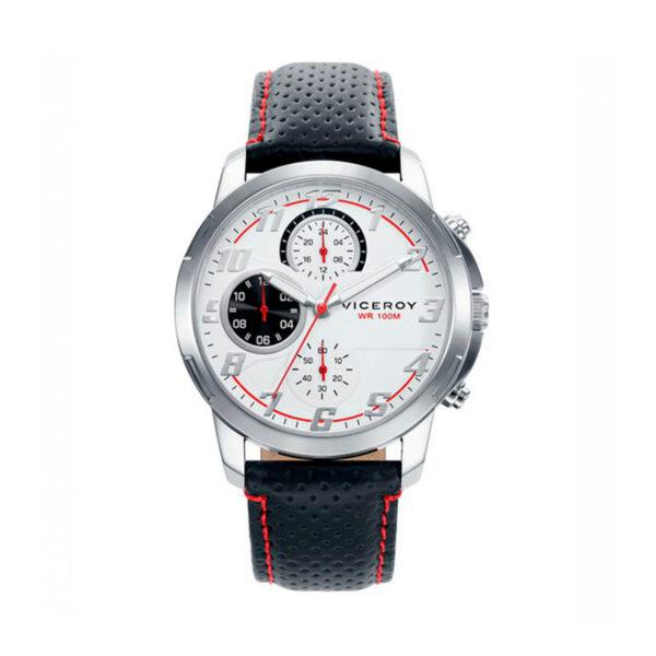 Reloj Viceroy Comunión Hombre 46695-05 Acero esfera blanca detalles rojos y negros con correa piel negra y pespunte rojo