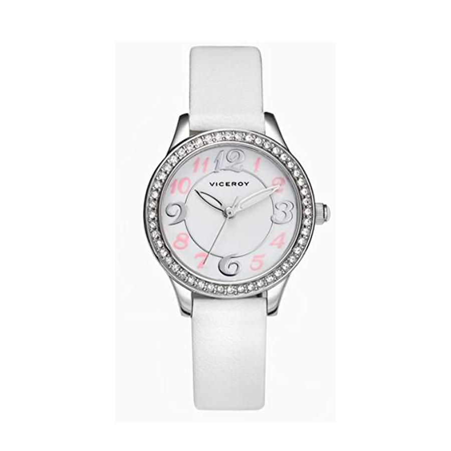 Reloj Viceroy Comunión Mujer 40716-05 Acero con esfera blanca con detalles rosas y bisel ornamentado con cristales y correa piel blanca
