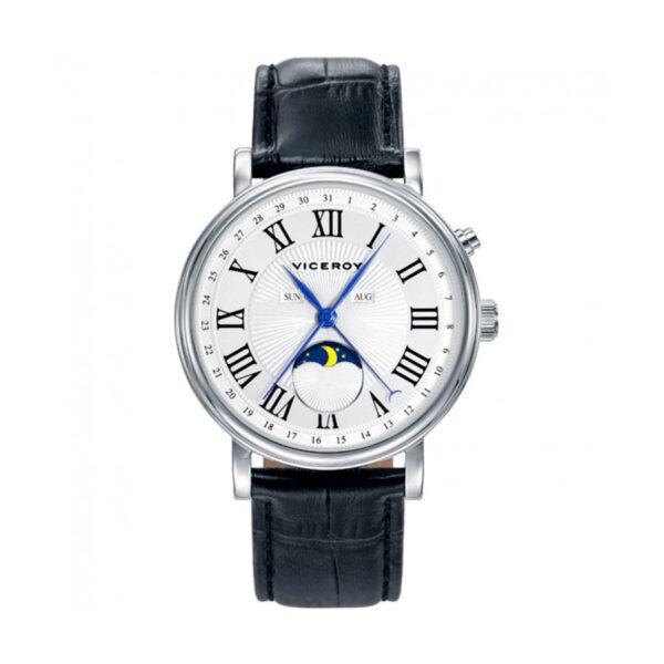 Reloj Viceroy Grand Hombre 401031-02 Acero esfera blanca con motivos de información lunar y correa piel negra