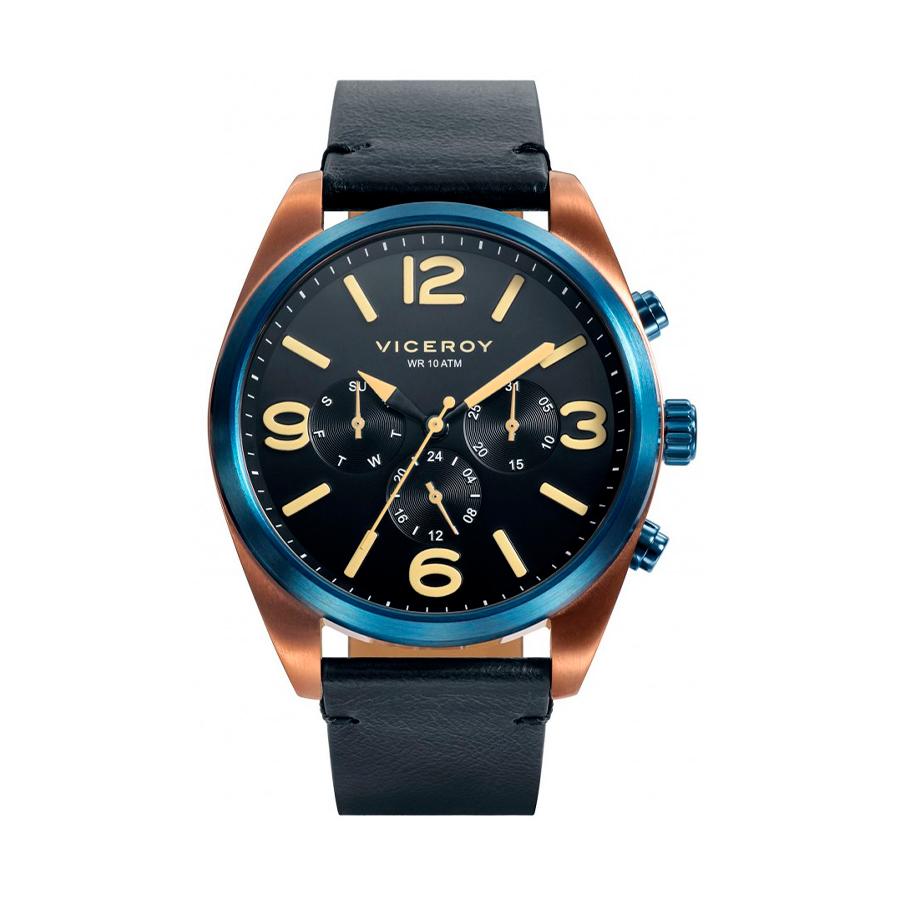 Reloj Viceroy Heat Hombre 401119-54 Acero esfera negra con detalles beige y bisel más pulsadores en color azul y correa piel negra