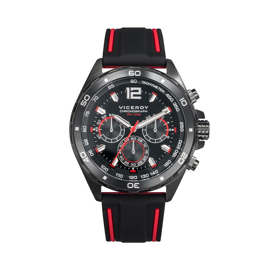 Reloj Viceroy Heat Hombre 46803-55 Acero esfera bicolor negra y roja con correa silicona negra-roja