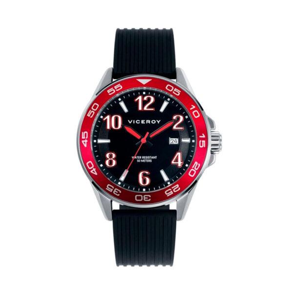 Reloj Viceroy Hombre 40429-55 Acero esfera negra bisel rojo y correa caucho negro