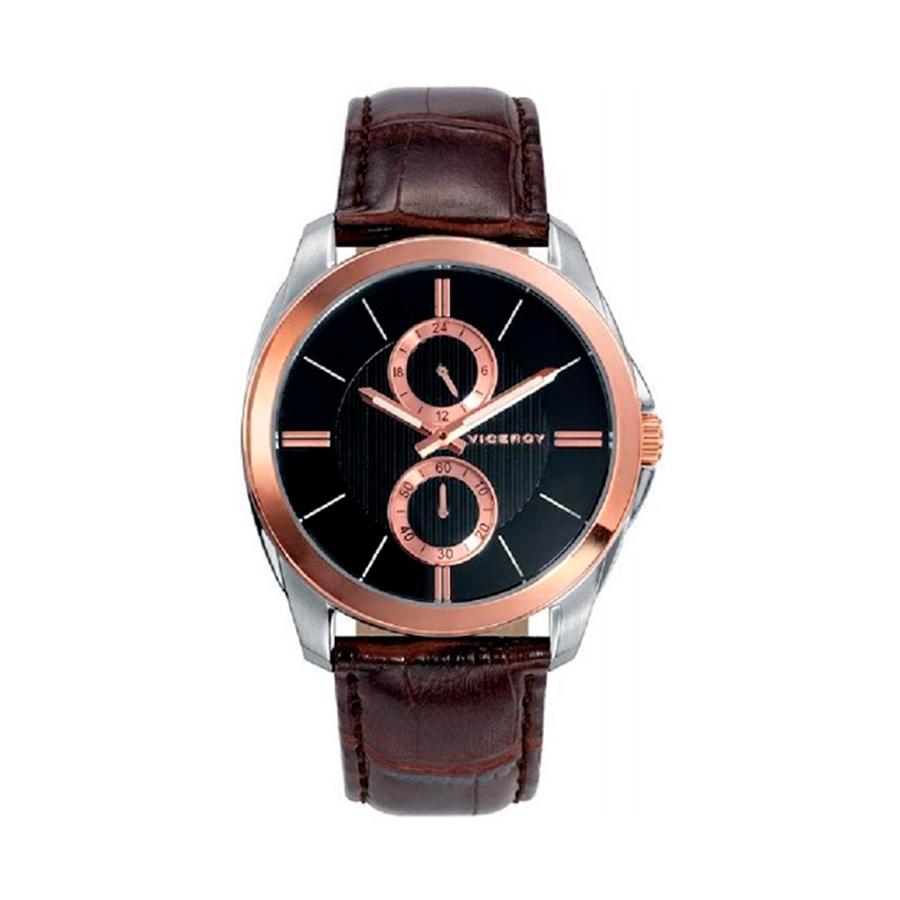 Reloj Viceroy Hombre 432273-57 Acero bicolor rosado y plata con esfera negra con detalles rosados y correa piel marrón