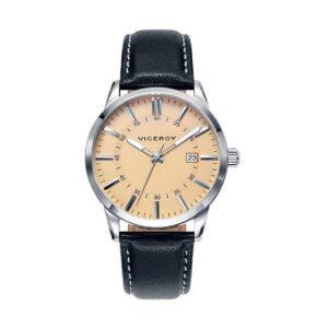 Reloj Viceroy Hombre 471015-97 Acero esfera beige con correa piel negra