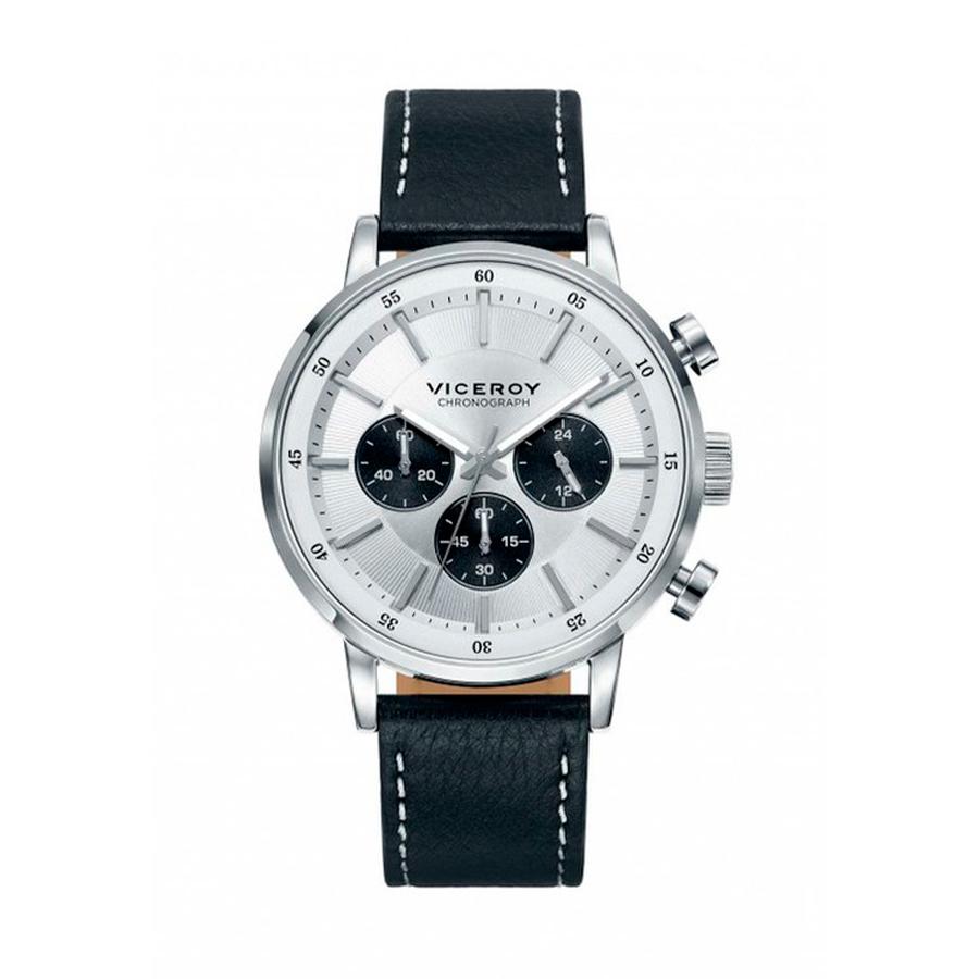 Reloj Viceroy Hombre 471023-17 Acero esfera blanca y negra con correa de piel negra y pespunte blanco