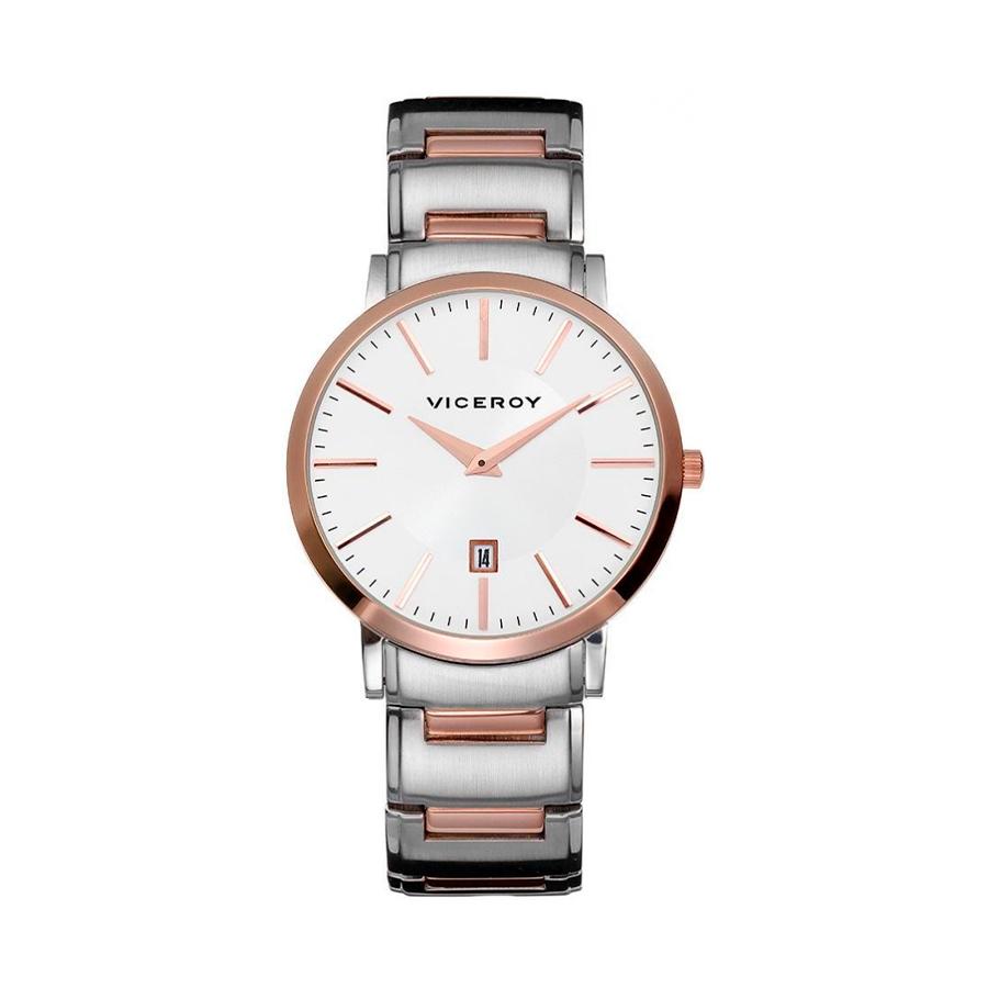 Reloj Viceroy Hombre 47783-97 Acero bicolor rosa y plata con esfera blanca y detalles rosados