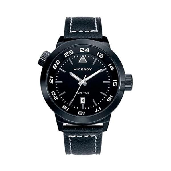 Reloj Viceroy Hombre 47853-04 Acero negro con esfera negra y detalles blancos con correa piel negra con pespunte blanco