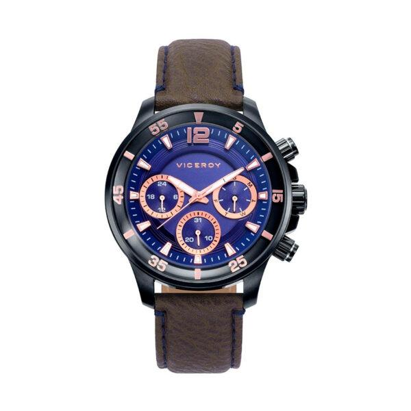 Reloj Viceroy Icon Hombre 42223-35 Esfera azul correa piel marrón