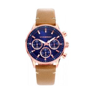 Reloj Viceroy Icon Mujer 42290-37 Acero rosado con esfera azul y detalles rosados con correa piel marrón