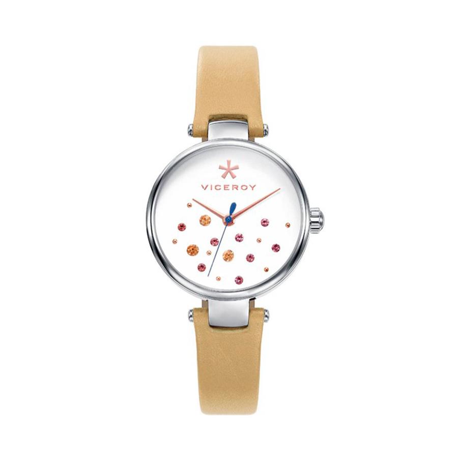 Reloj Viceroy Kiss Mujer 471114-09 Acero esfera beige claro con circonitas de colores y correa piel marrón