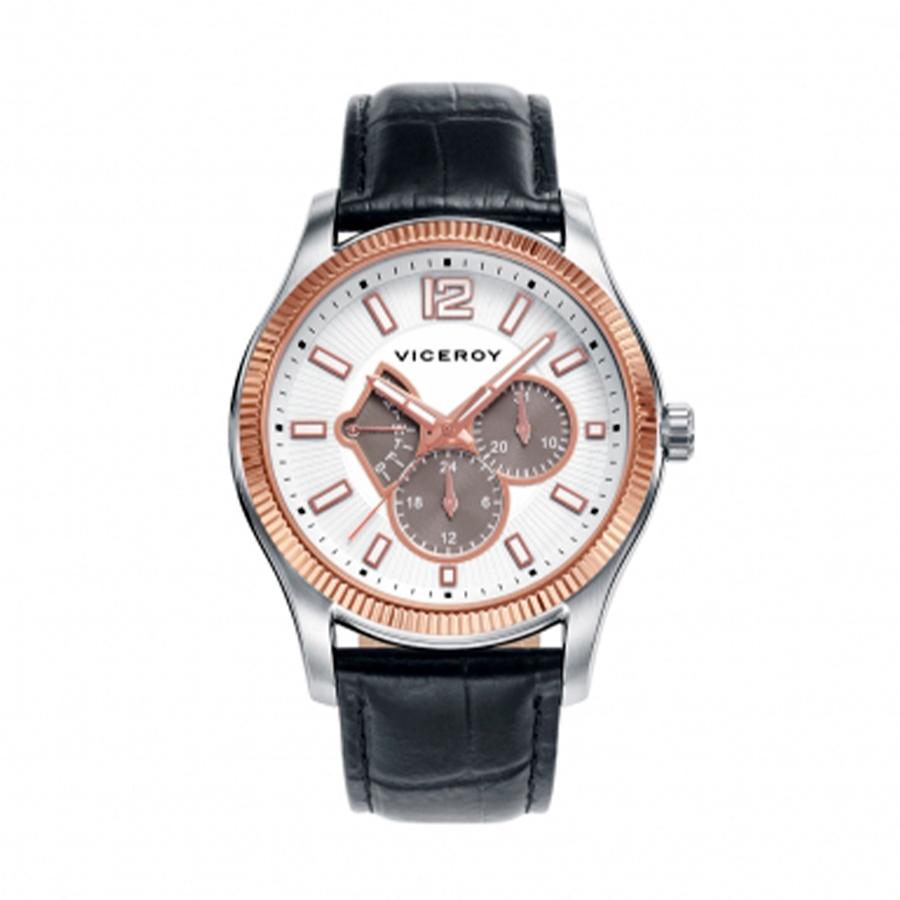 Reloj Viceroy Magnum  Hombre 42253-05 Acero bicolor rosado y plata con bisel rosado con correa piel negra