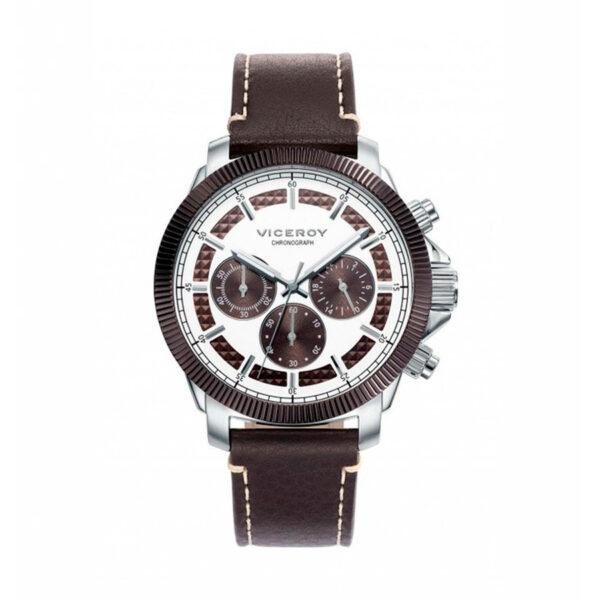 Reloj Viceroy Magnum Hombre 471061-47 Acero esfera bicolor blanca y marrón con correa piel marrón