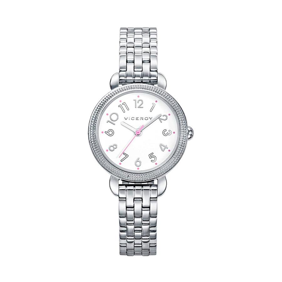 Reloj Viceroy Mujer 42266-05 Acero plata con esfera blanca y detalles rosas
