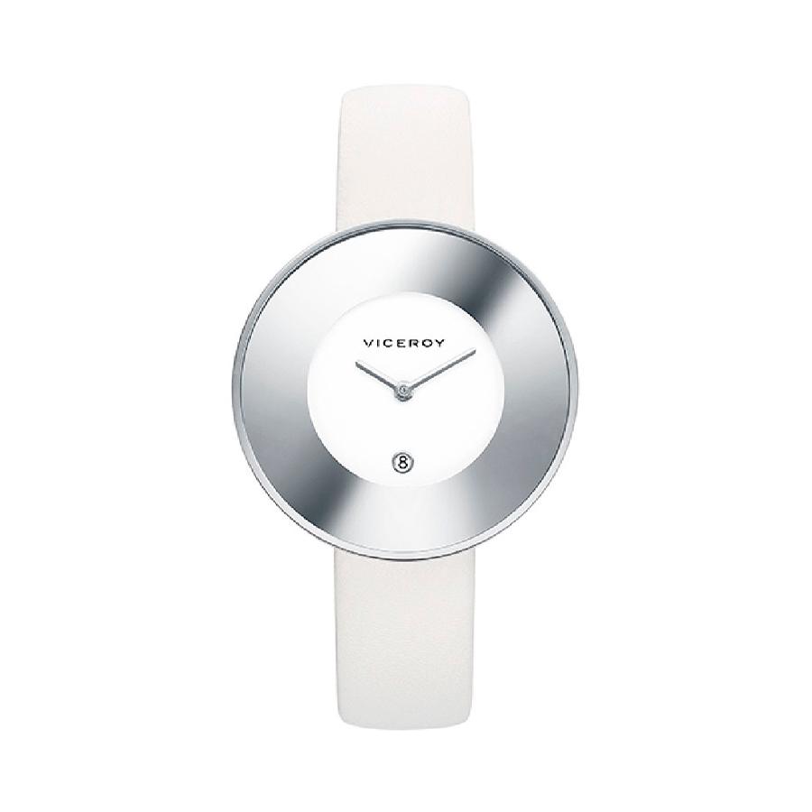 Reloj Viceroy Mujer 461060-00 Acero con esfera blanca y bisel efecto espejo con correa piel blanca