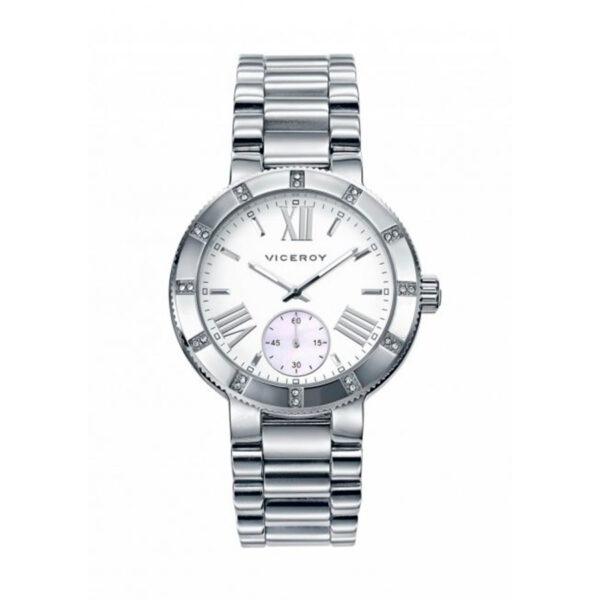 Reloj Viceroy Mujer 471014-03 Acero plata con esfera blanca con dial para segundos y bisel con circonitas incrustadas