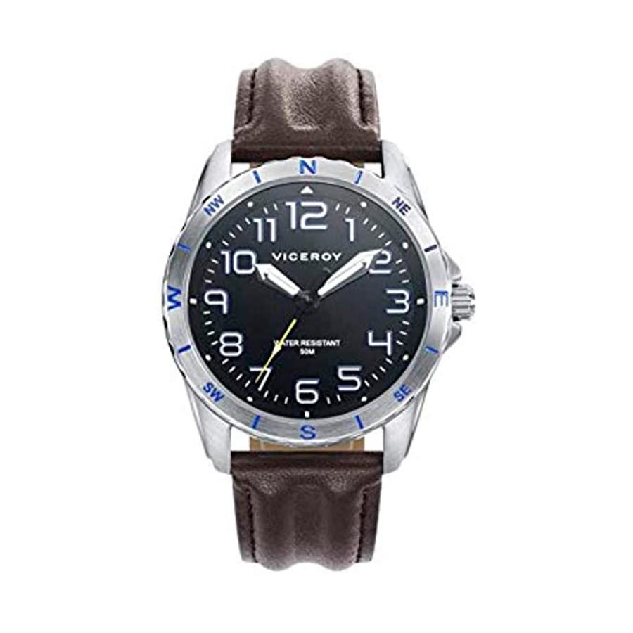 Reloj Viceroy Next Hombre 401167-55 Acero esfera negra con detalles azules y blancos con saeta en color amarillo y correa piel marrón