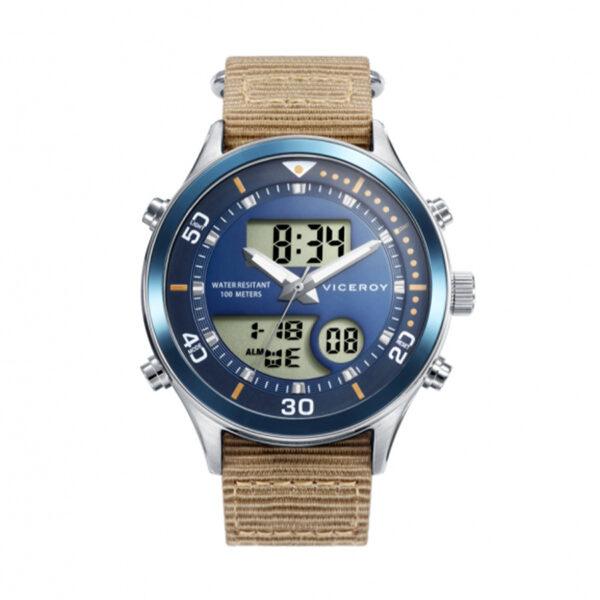 Reloj Viceroy Next Hombre 41101-34 Acero con esfera azul con detalles naranjas y correa nylon beige