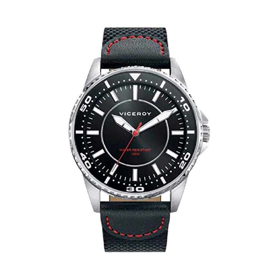 Reloj Viceroy Next Hombre 46769-57 Acero esfera negra con aguja roja y correa nylon negra con pespunte rojo