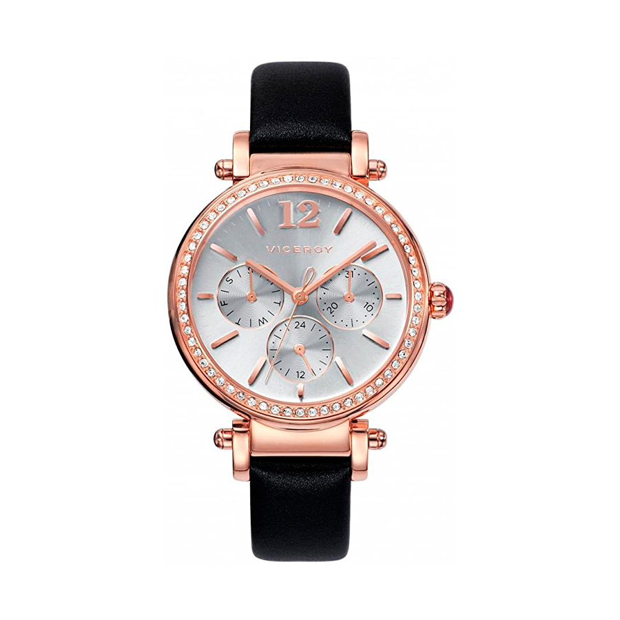 Reloj Viceroy Penélope Cruz Mujer 471052-05 Acero rosado con esfera plata multifunción con circonitas en bisel y correa piel negra