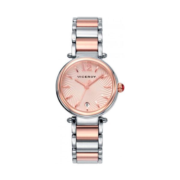 Reloj Viceroy Penélope Cruz Mujer 471054-95 Acero bicolor rosado y plata con esfera rosada