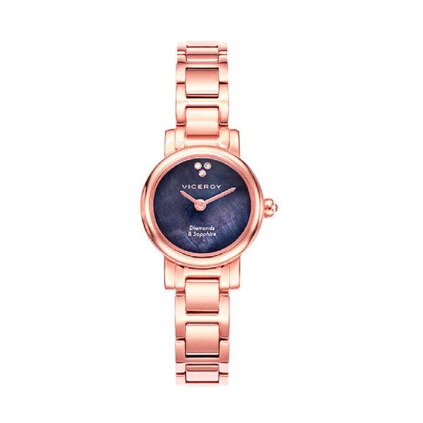 Reloj Viceroy Sapphire Hombre 461078-50 Acero rosado con esfera madreperla gris y tres brillantes con cristal zafiro