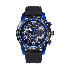 Reloj Viceroy Sportif Hombre 40461-35 Acero esfera negra y azul con correa silicona negra