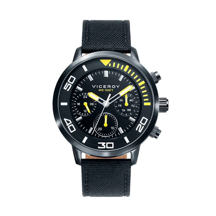 Reloj Viceroy Sportif Hombre 471027-57 Acero negro con esfera negra y detalles amarillos con correa nylon negra