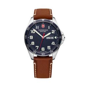 Reloj Victorinox Fieldforce Hombre V241848 Acero con esfera azul y correa piel marrón