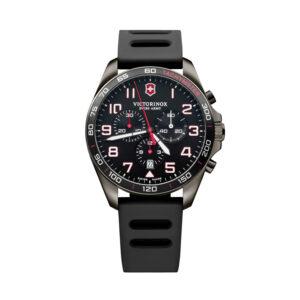 Reloj Victorinox Fieldforce Hombre V241889 Acero gris con esfera negra y detalles blancos y rojos con correa caucho negro