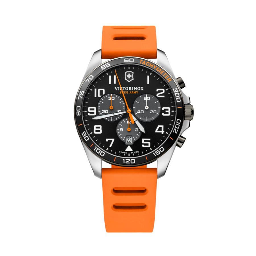 Reloj Victorinox Victofield Hombre V241893 Acero negro con esfera negra y detalles naranjas con correa caucho naranja