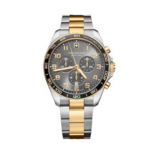 Reloj Victorinox Victofield Hombre V241902 Acero bicolor dorado y plata con esfera negra y detalles dorados
